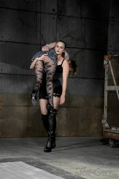 Mistress is queening her new submissive female lover in nylon
